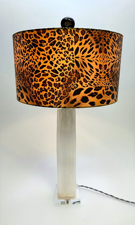 Hand Carved Selenite Lamp with Leopard Print Shade