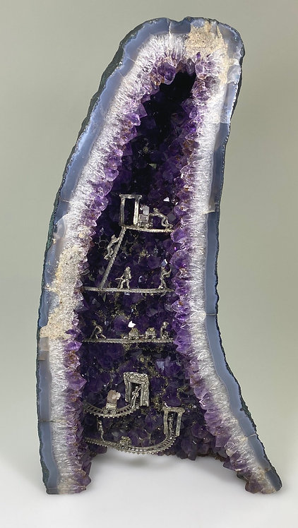Brazilian Amethyst Geode with Cacoxenite with Pewter & Pyrite Mining Scene