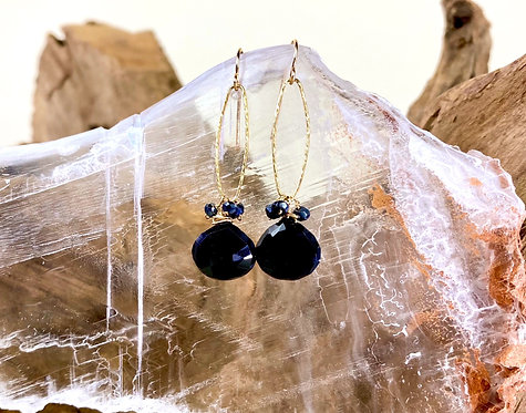Gold Filled Faceted Black Onyx drop Earrings