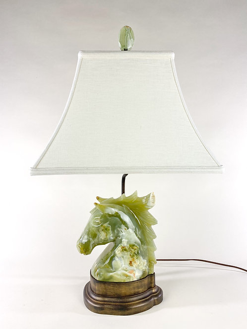 Green Calcite Horse Head Lamp
