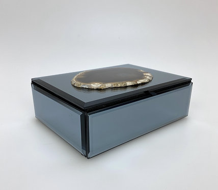Mirrored Felt Lined Box with Brazilian Agate
