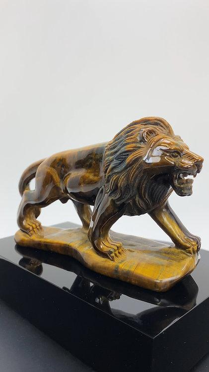 Hand Carved Tiger's Eye Lion Sculpture on Black Acrylic Base
