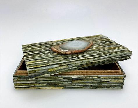 Green Bone Box with Polychrome Jasper Slab