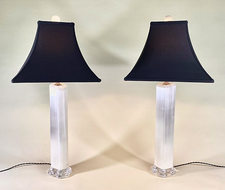 Selenite Lamp Pair