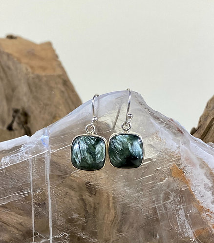 Sterling Silver cabochon Seraphinite Ear Rings