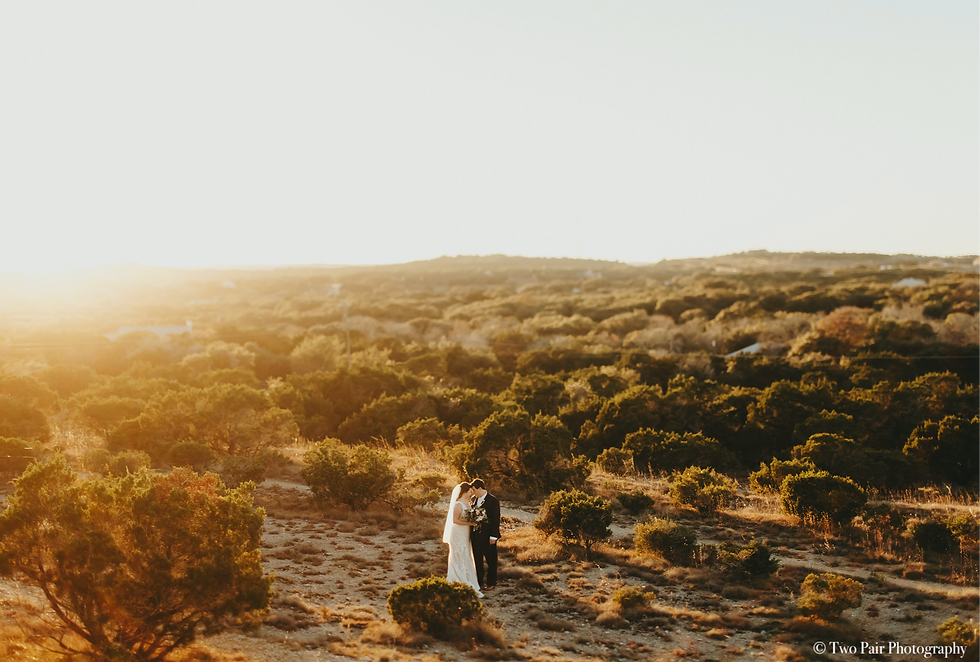 Bride and Groom Hill Country Sunset
