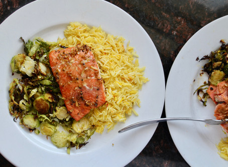 Soy Ginger & Honey Glazed Salmon with Shaved Brussels Spouts & Saffron Coconut Rice
