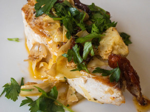 Skillet Swordfish with SunDried tomatoes & Artichokes