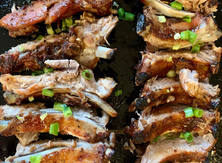 Oven ribs with a sticky whiskey maple glaze