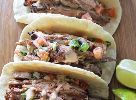 Skirt Steak Tacos with Pico De Gallo and Honey Sriracha Mayo