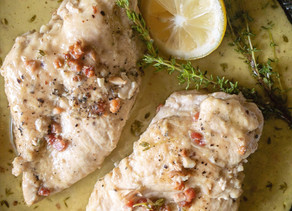 Chicken with White Wine Pancetta & Thyme Sauce