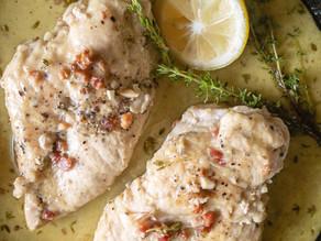 Chicken with White Wine Pancetta & Thyme Sauce