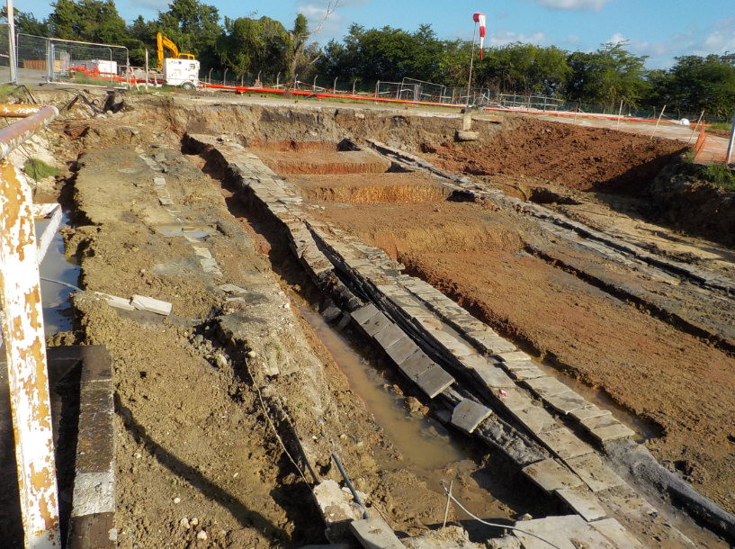 Digging of the entire area in order to verify the absence of underground grids at the vertical of each pile