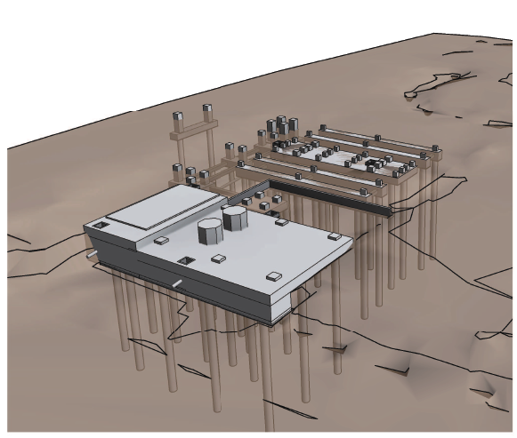 Conception of the ISBL part civil work, supported by 54 concrete piles of 520 mm diameter