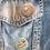 2 retro dessert button pin badges on a denim jacket