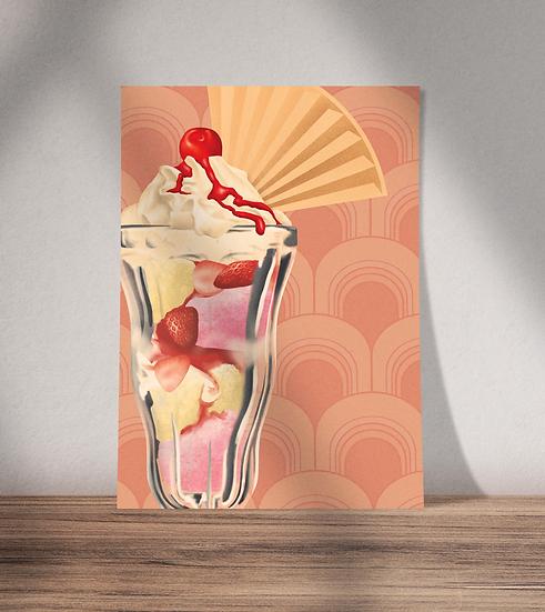 Knickerbocker glory ice cream sundae unframed wall art print