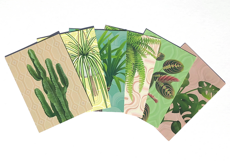 6 retro inspired botanical themed A6 mini postcard prints depicting a range of retro house plants