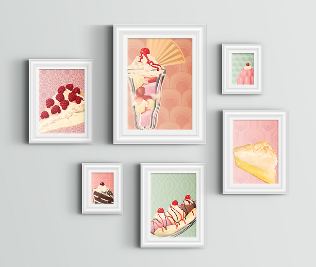 Gallery wall comprised of six retro dessert art prints in different sizes