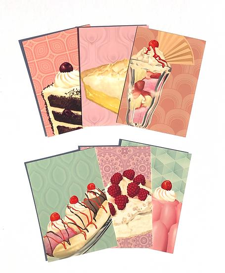 6 vintage style dessert themed A6 mini postcard prints depicting a range of retro desserts