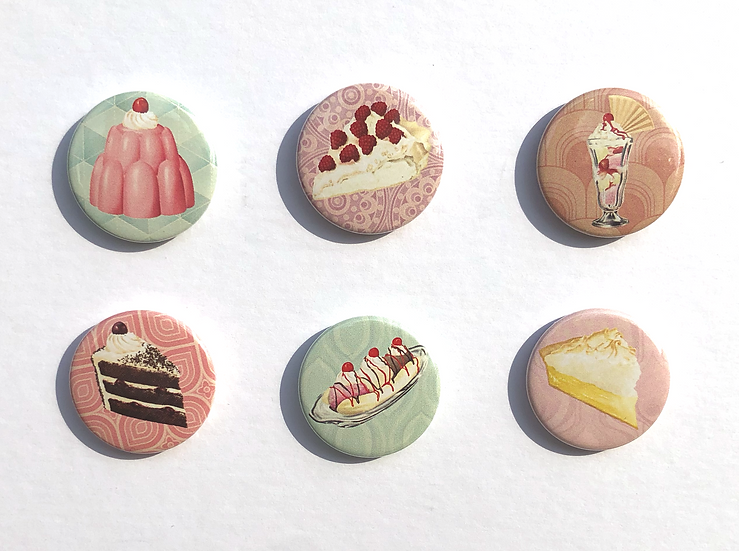 Set of 25mm retro inspired button pin badges depicting 6 retro desserts