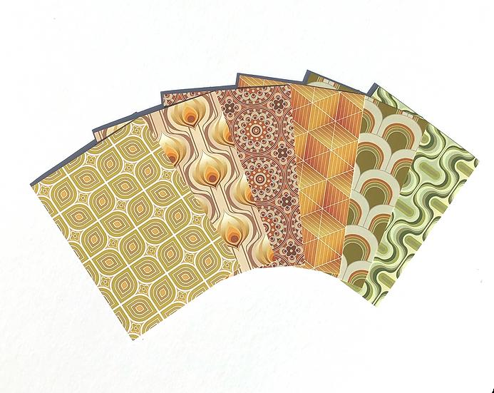 6 retro style geometric patterned A6 mini postcard prints arranged in a fan shape