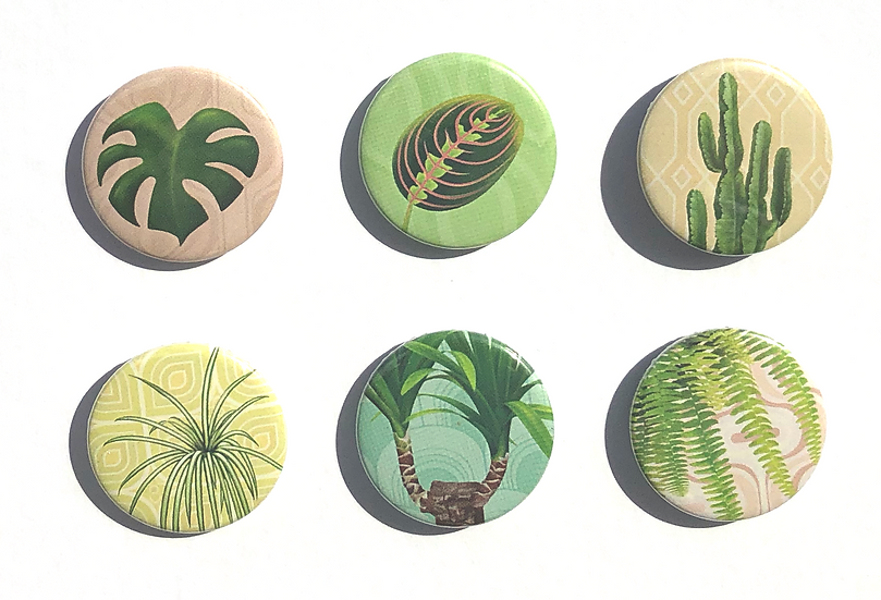 Set of 25mm botanical themed button pin badges depicting 6 retro house plants