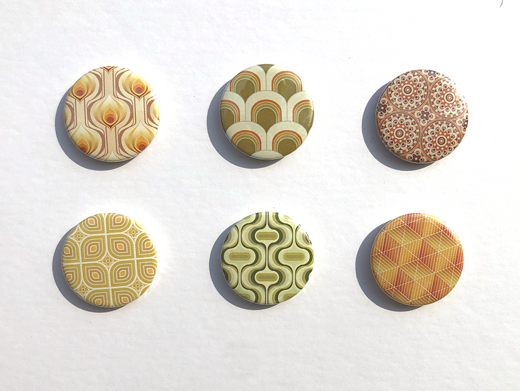 Set of 25mm geometric patterned button pin badges from the retro wallpaper range