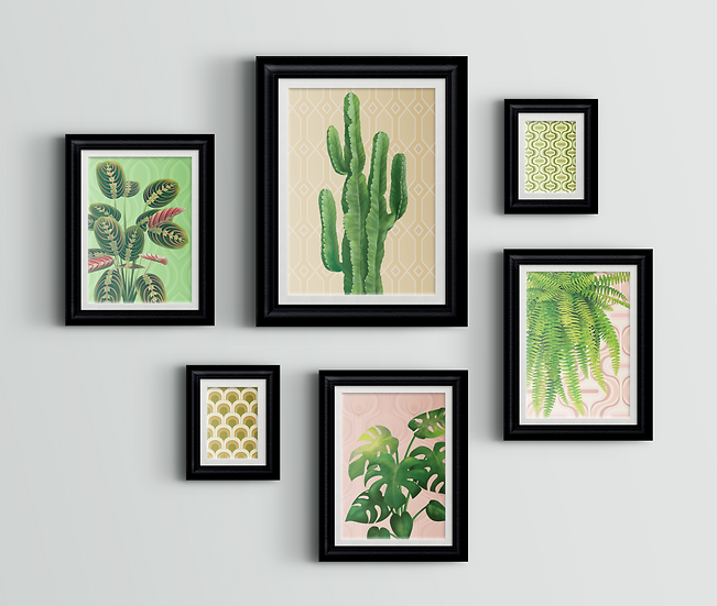 Gallery wall comprised of six vintage style wall art prints depicting house plants and retro inspired wallpaper