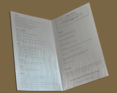 Menu Papier, intérieur, Sofitel