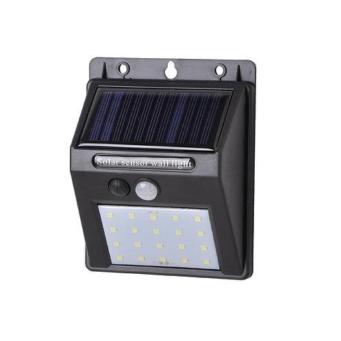 Luminária Solar LED Sensor de Presença e Luz Balizador 20 Leds