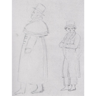 Schober?: Sketch for Michael Vogl and Franz Schubert go forth to fight and conquer, c1825