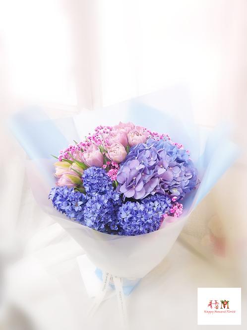 風信子+繡球+鬱金香花束