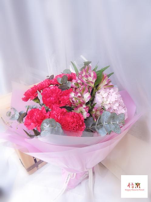 荷蘭康乃馨+繡球+小百合花束