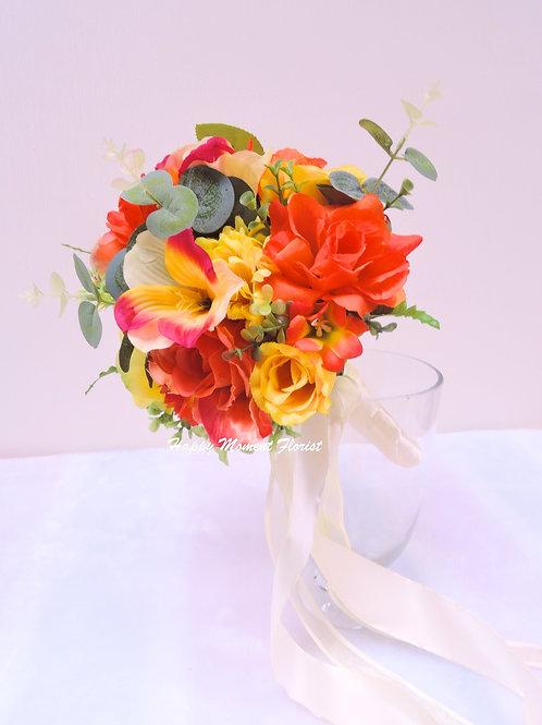 西式橙黃玫瑰絲花花球