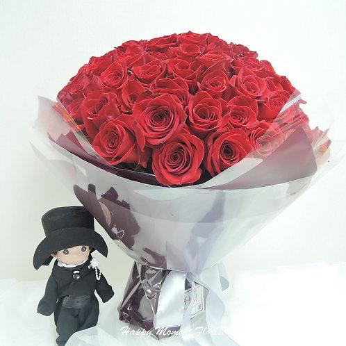 99枝美國紅玫瑰求婚花束
