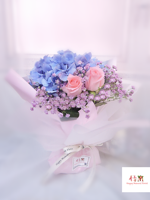 藍色繡球小花束