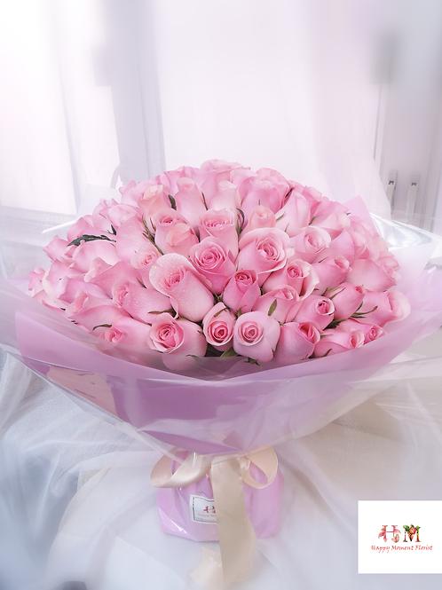 99枝粉紅玫瑰求婚花束