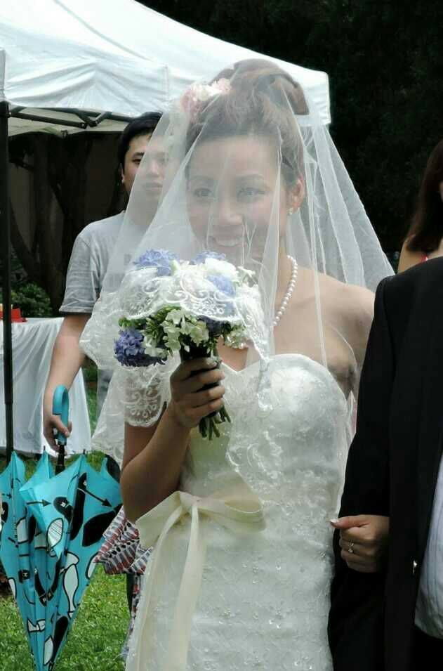 Lovely bride with wedding bouquet