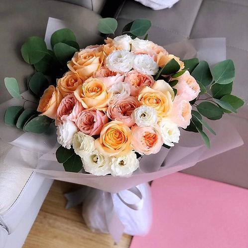 香檳金庭園玫瑰花束