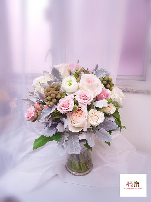 庭園玫瑰結婚花球