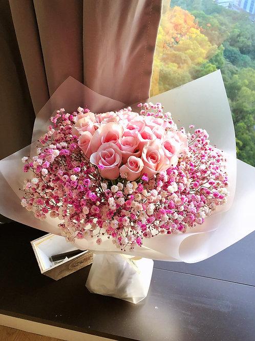 粉紅玫瑰花束