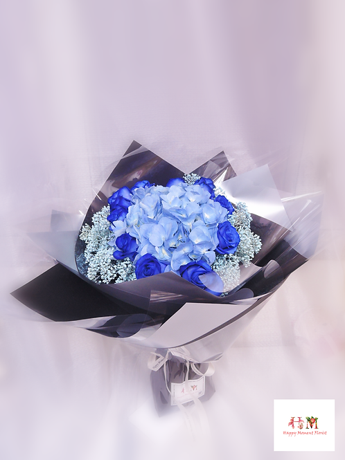 荷蘭藍玫瑰+繡球花束