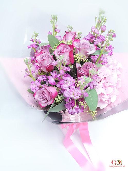 肯亞玫瑰 + 荷蘭繡球花束