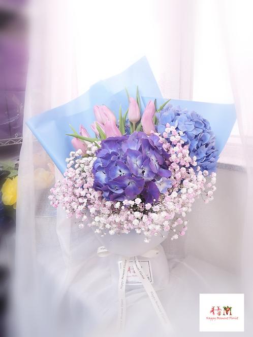 繡球+鬱金香花束