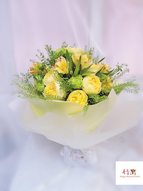 庭園玫瑰+小百合花束