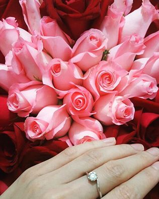 heart bouquet and ring