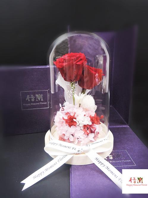 紅玫瑰保鮮花 (兩枝)