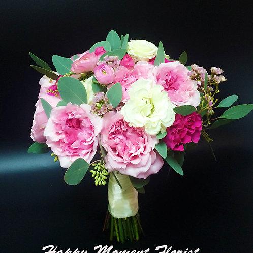英國庭園玫瑰結婚花球