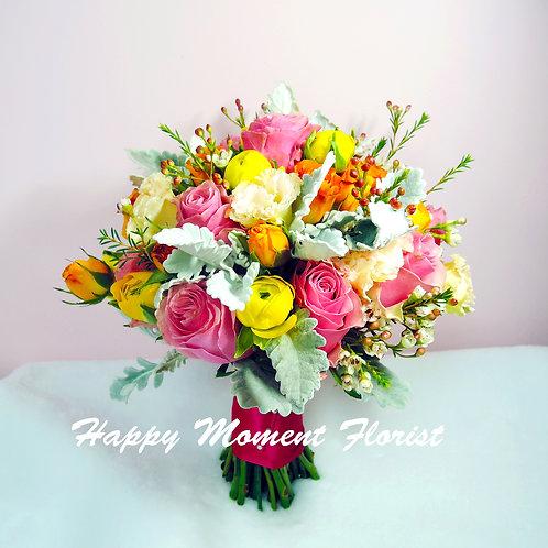 肯亞玫瑰洋牡丹西式結婚花球