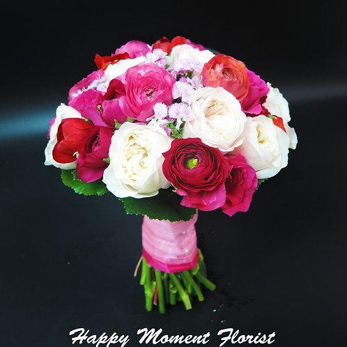 淡粉紅庭園玫瑰結婚花球